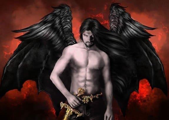 Демон на красном фоне