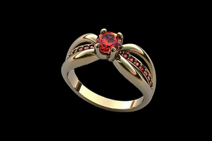 кольцо с красным бриллиантом