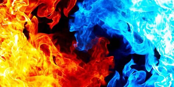 Синий и красный огонь