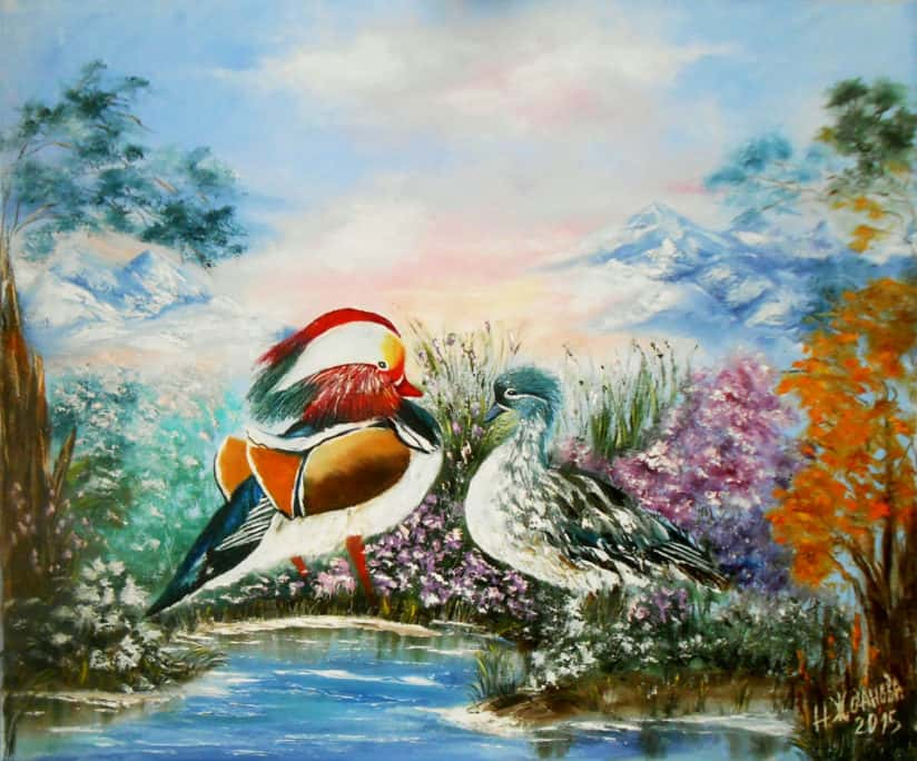 картина утки-мандаринки на холсте