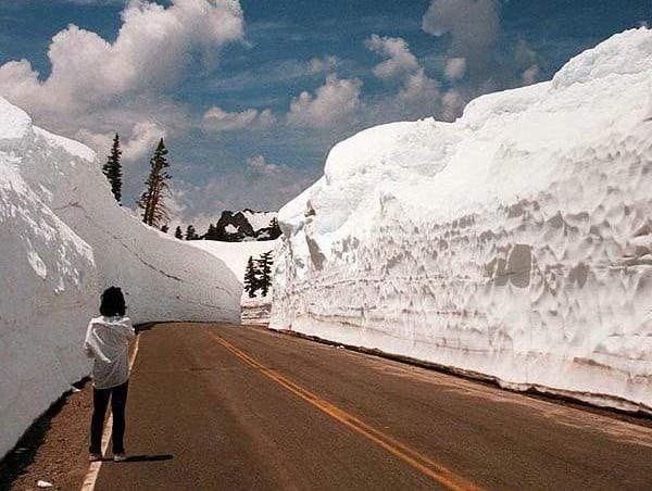 Снег у дороги