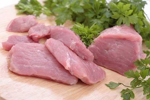 Сырое мясо и зелень