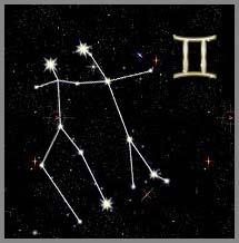 созвездие Близнецов на небе