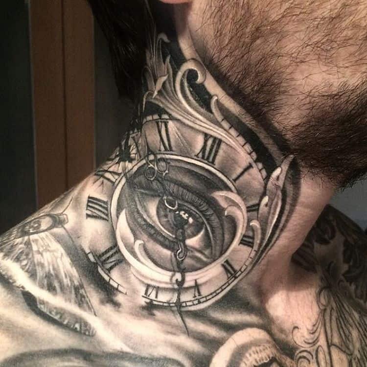 необычный вариант тату часы
