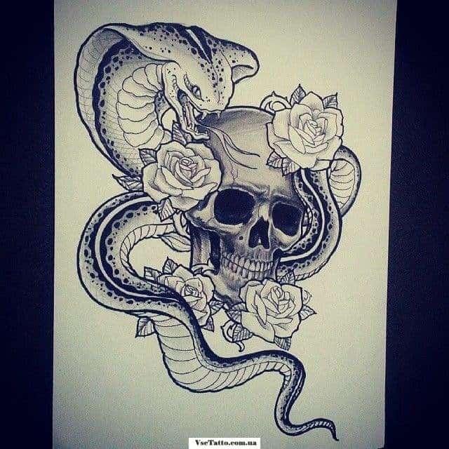 тату череп, змея и розы