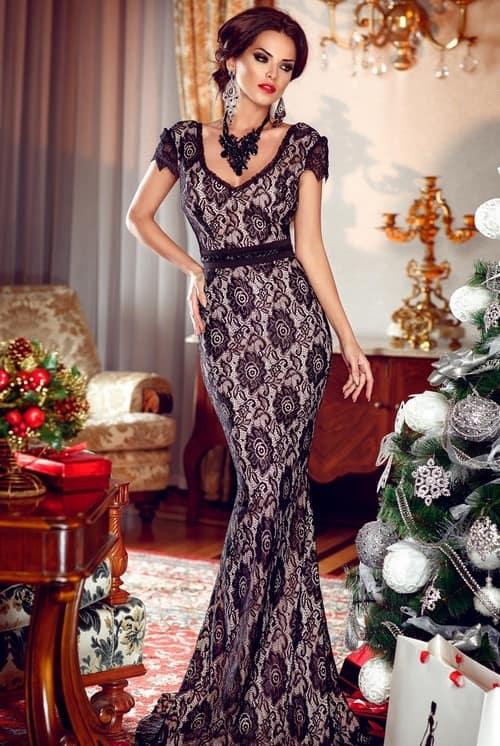эффектное платье в пол на Новый год