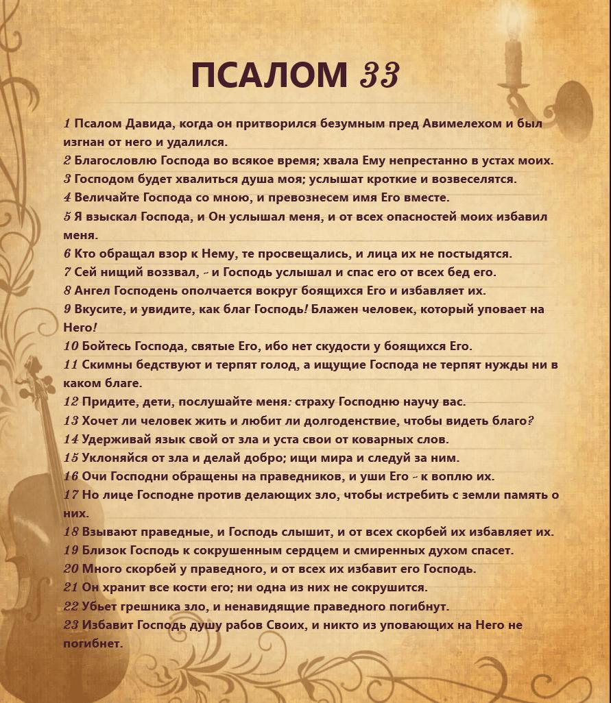 Псалом 33: текст молитвы на русском, как правильно читать
