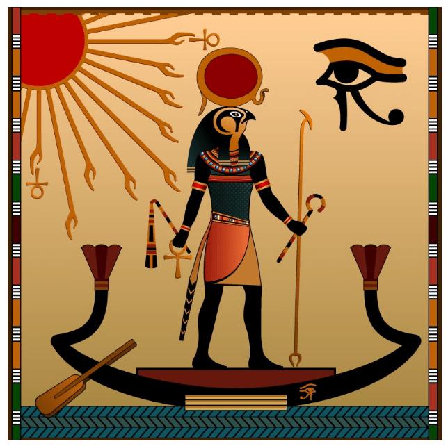 бог Амон Ра на папирусе