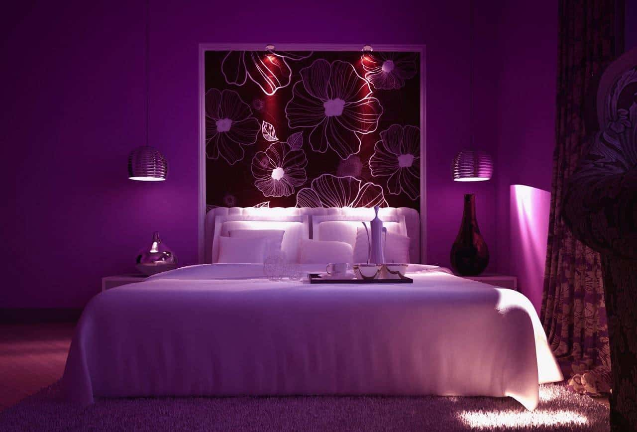 спальня в фиолетовой гамме цветов