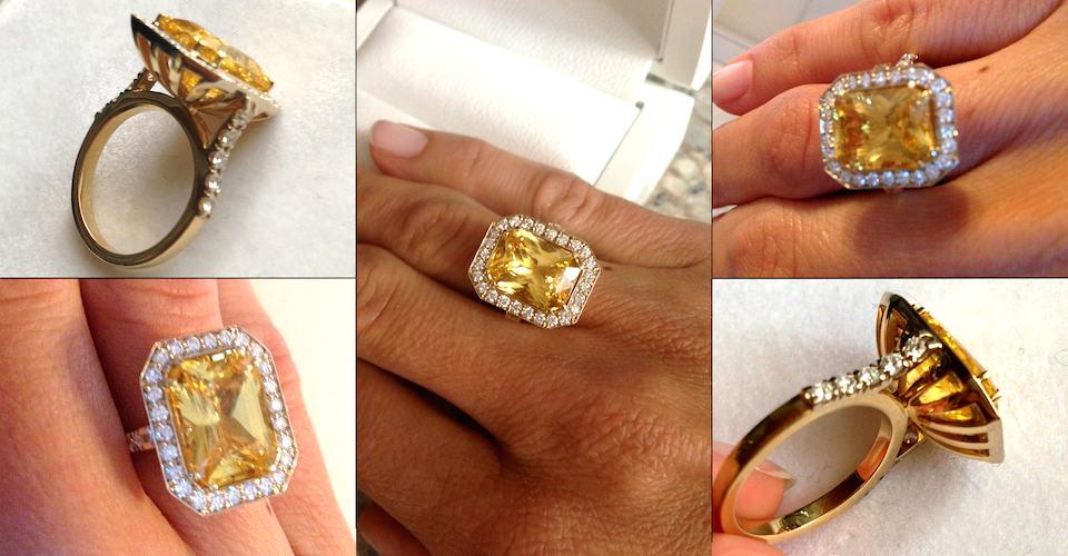 кольцо с жёлтым сапфиром фото