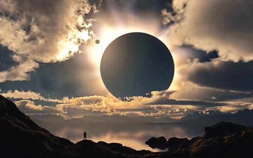 солнечное затмение рисунок
