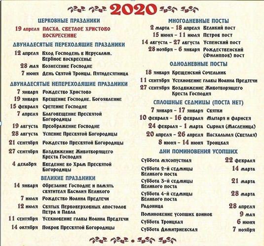 календарь церковных праздников на 2020