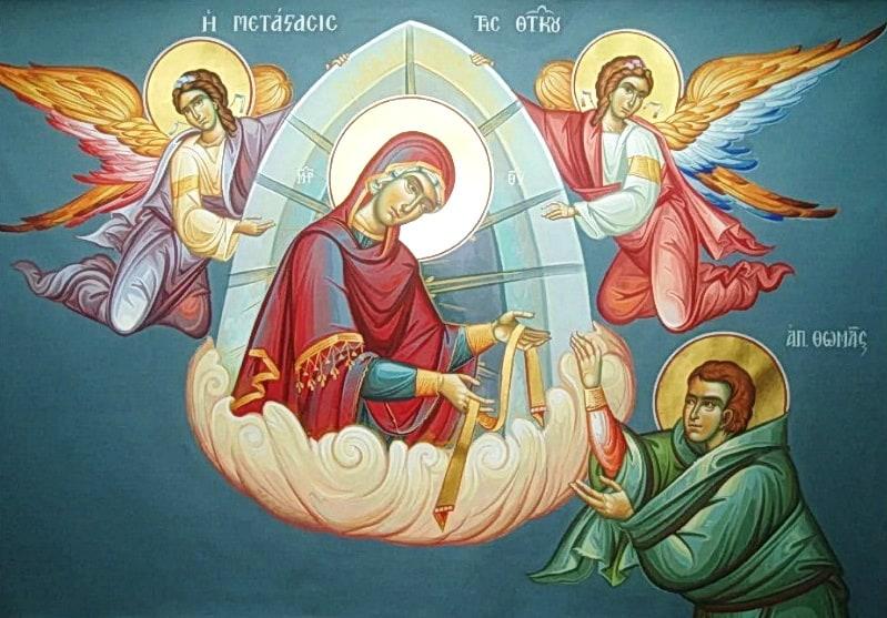 Богородица сбрасывает Фоме свой пояс икона
