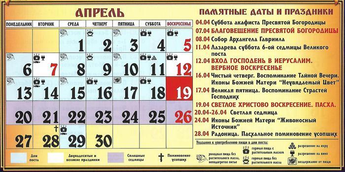 апрель 2020 праздники и посты